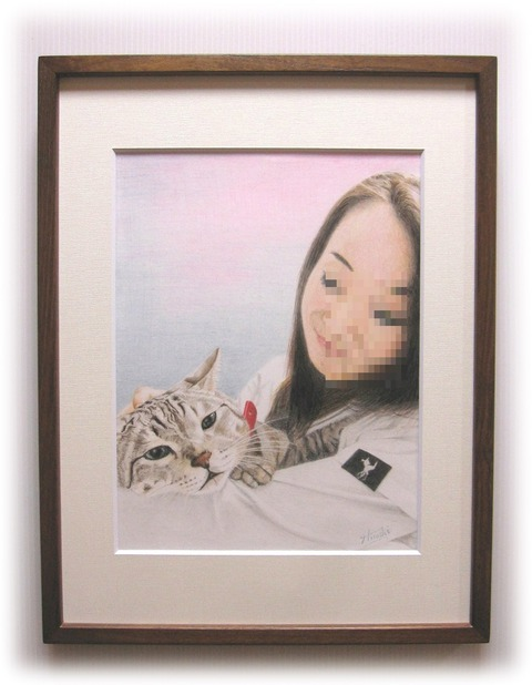 猫を抱く女性 (編)