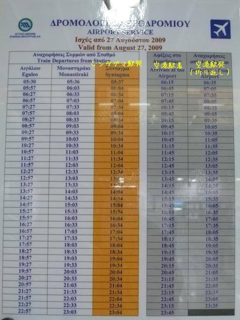 アテネ空港−シンタグマ時刻表