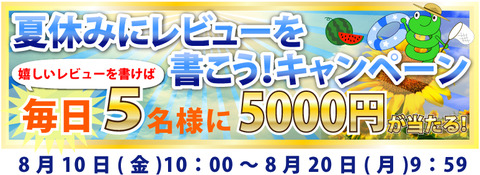 レビューを書いたら5000円もらえる!