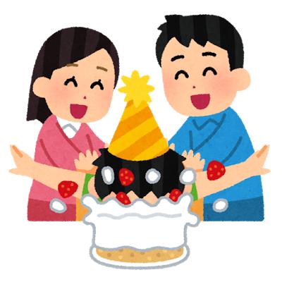 誕生日ケーキに顔を突っ込まれる人のイラスト
