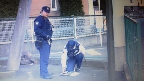 地面で切符を作成する警察官