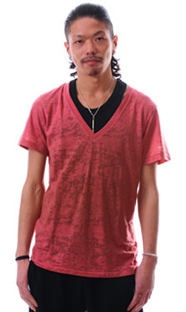 C.A.B.オパール加工メンズ無地VネックTシャツ通販