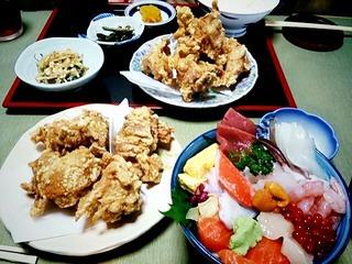 ザンギ(鶏唐揚)と海鮮丼