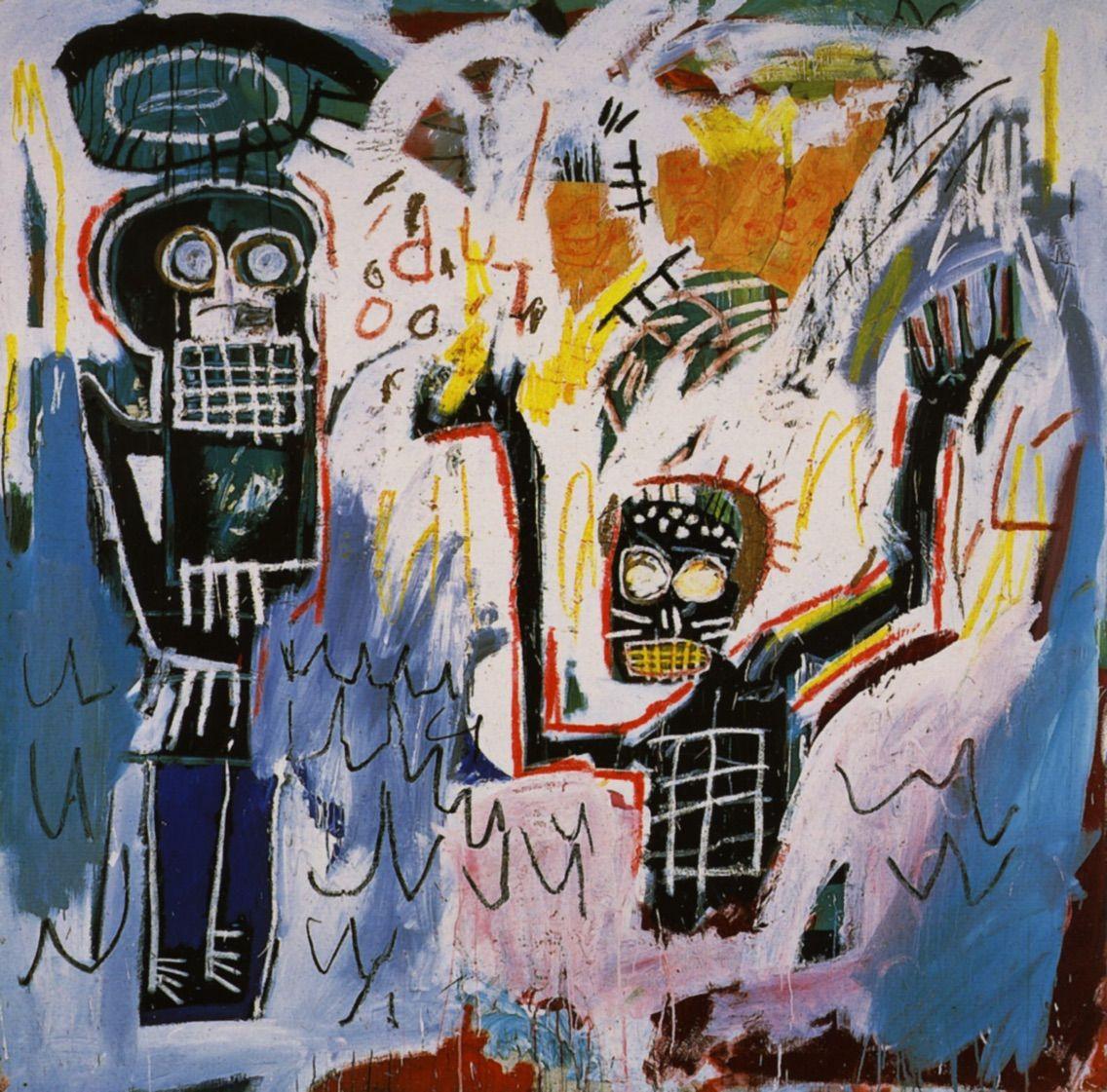 ジャン=ミシェル・バスキア「Baptism」(1982年) ©︎Jean,Michel Basquiat 出典  https//www.wikiart.org/en/jean,michel,basquiat/baptism ここでもう一度絵を見てみ