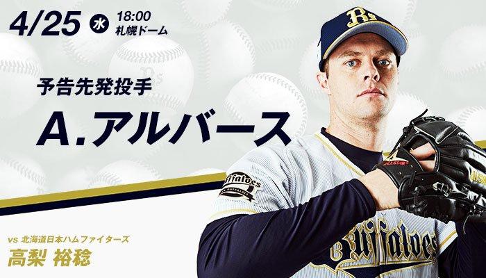 04.25 オリックス(アルバース)対日本ハム(高梨) 試合実況記事