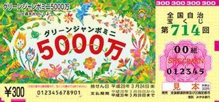 第714回全国自冶宝くじ「グリーンジャンボミニ5000万」