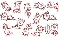 手ぬぐい)手描き)右)赤)1