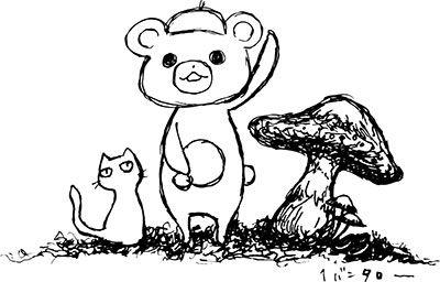 手描き)白黒)キノコ