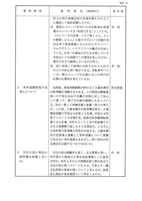 平成28年9月議会質問通告②