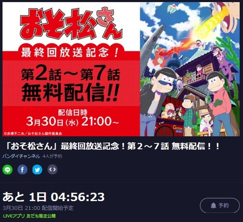 おそ松さん2話から7話が、LINE LIVEにて再放送!?3月30日21時から