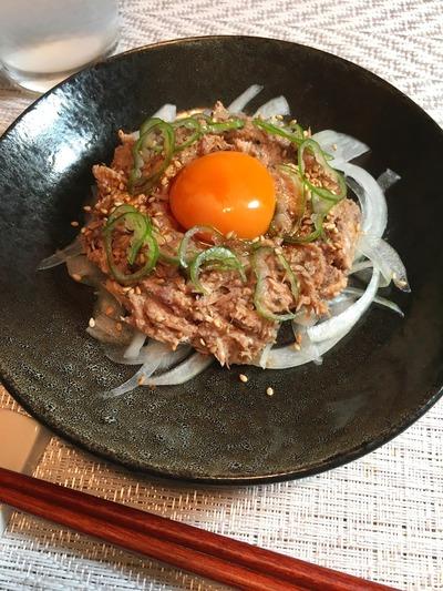 サバ缶のユッケ風のレシピ