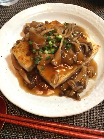 きのこソースの豆腐ステーキ