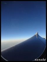 座席は飛行機の羽根の上