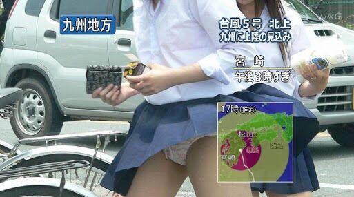 【画像】真面目に生きてきた女子高生、台風のせいで全国日本男児のオカズになる