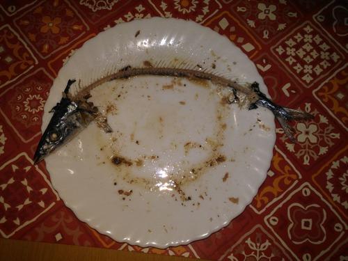 【画像あり】俺の妻がさんまを食べる。