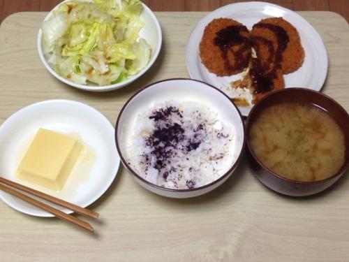 【悲報】一人暮らしワイの晩ご飯、貧乏人丸出しのメニューになる