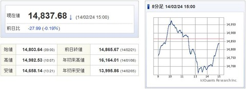 日経平均20140224-1