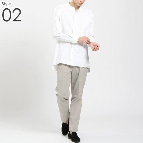 メンズ バンドカラー シャツ _02
