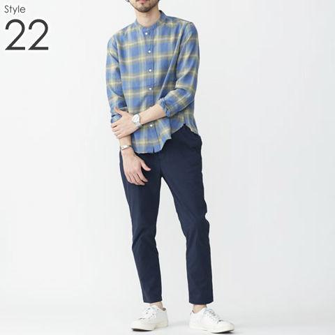 メンズ バンドカラー シャツ _22