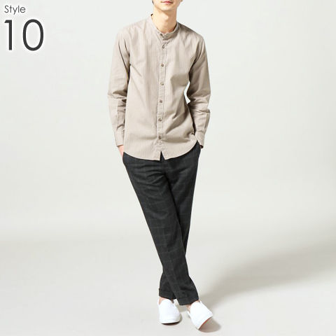 メンズ バンドカラー シャツ _10