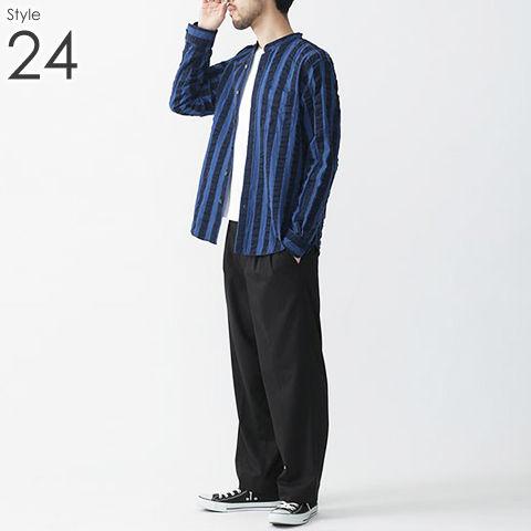 メンズ バンドカラー シャツ _24