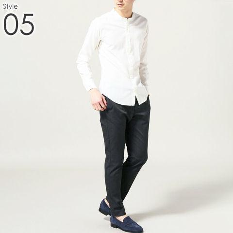 メンズ バンドカラー シャツ _05