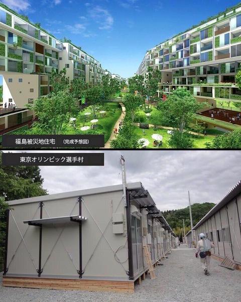 東京オリンピックの選手村と東日本大震災の仮設住宅を逆にする