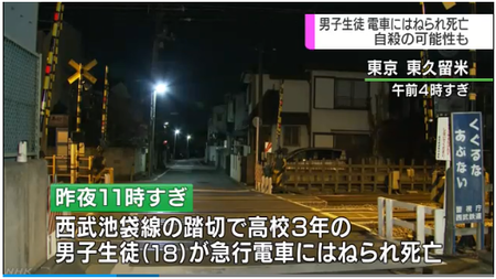電車はねられ高校生死亡 自殺か|NHK 首都圏のニュース
