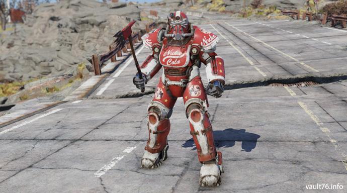 『Fallout 4 Nuka World』で登場したヌカコーラ仕様のパワーアーマーは、今作ではT,51パワーアーマー用のペイントモジュール「設計図: ヌカ・コーラ塗装」として入手