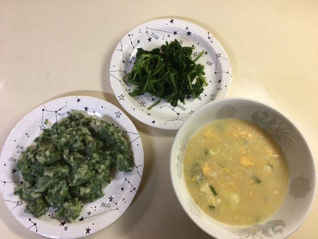 ノビルのすいとん、タンポポのおひたし、ノビルの卵スープ