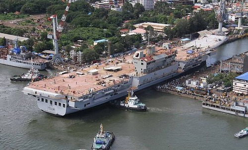 INS_Vikrant_being_undocked