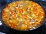 タイカレーペースト使用海老味噌野菜スープ