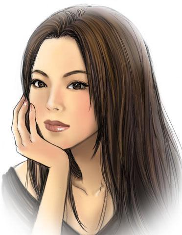 $尾山泰永の漫画生活-紫季たん さん 似顔絵カラー