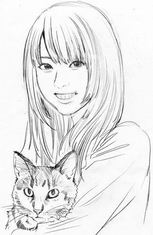$尾山泰永の漫画生活-dreamtronさん似顔絵 ラフ