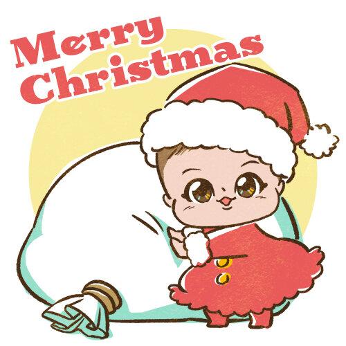 赤ちゃんのクリスマス似顔絵