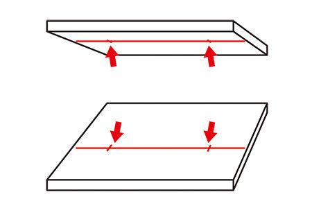 接着面側からドリルをあてるようにすれば、 接着面だけはぴったりな位置に穴があくはず
