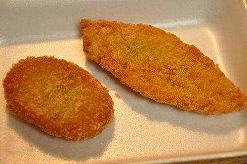 コロッケと白身魚のフライ