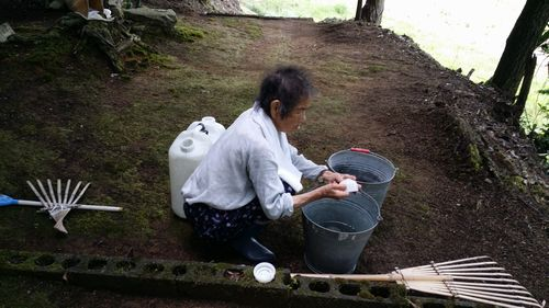 8月9日に母と墓掃除をしました