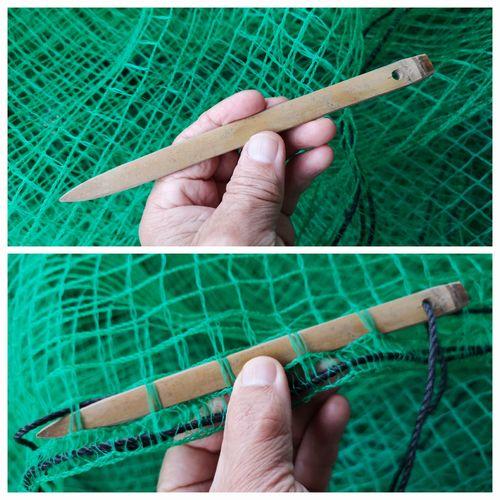 真竹で編み棒を作りました。