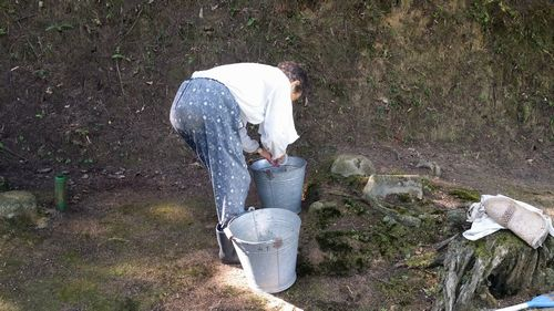 8月8日に母と墓掃除をしました