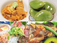 生ウニ・おたふく豆煮・刺身盛り・魚の煮つけ