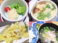 イカしゅうまい・茶碗蒸し・イカゲソの天ぷら・ご飯・吸物・香の物