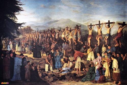 大浦天主堂内二十六聖人殉教図