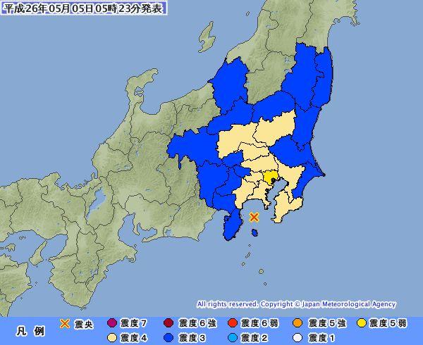 今朝の関東の地震は異常震域です...