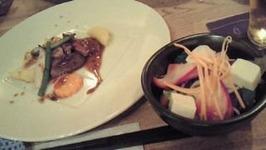 豆腐とかぶらのサラダと肉