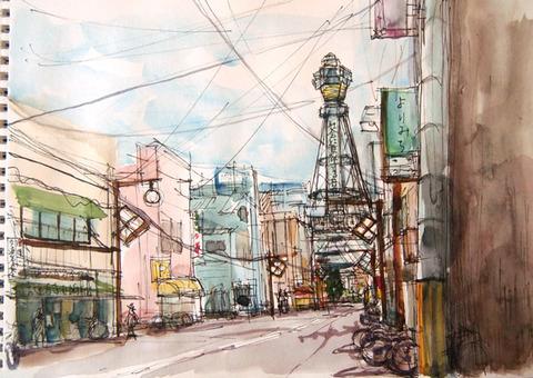 大阪新世界--通天閣のある風景