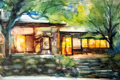 夕暮れ時の「猿座カフェ」