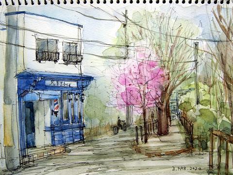 お散歩スケッチ(五日市街道沿い)