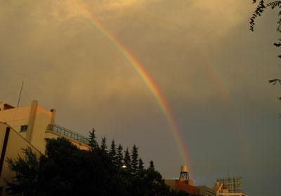 高円寺での2重の虹