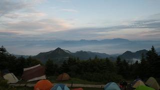 ハーレーのキャンプと雲海